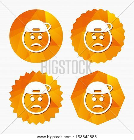 Sad rapper face sign icon. Sadness depression chat symbol. Triangular low poly buttons with flat icon. Vector