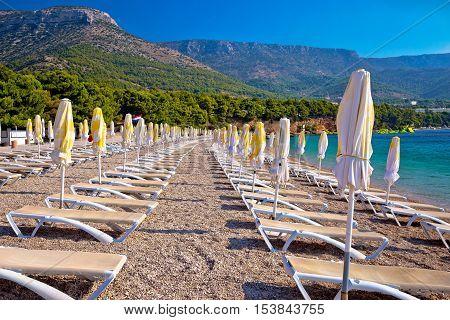 Zlatni rat beach and landscape view Bol on Brac island Dalmatia Croatia