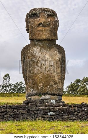 Ahu Akivi Site In Easter Island, Chile