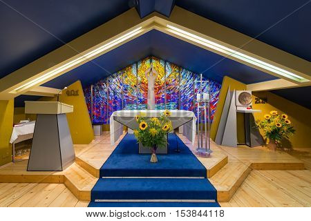 Kroscienko nad Dunajcem; Poland - August 10 2016; Chapel of Christ the Servant at Kopia Gorka - center of The Light-Life Movement - known as the Oasis Movement - founded by Franciszek Blachnicki