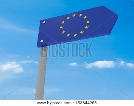 Guidepost: EU Road Sign Arrow Against Blue Sky 3d illustration