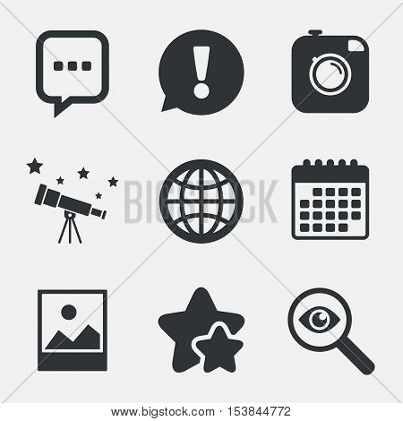 Social media icons. Chat speech bubble and world globe symbols. Hipster photo camera sign. Landscape photo frame. Attention, investigate and stars icons. Telescope and calendar signs. Vector