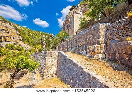 Pustinja Blaca hermitage in stone desert of Brac island Dalmatia Croatia