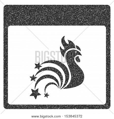 Rooster Fireworks Calendar Page grainy textured icon for overlay watermark stamps. Flat symbol with dust texture. Dotted vector gray ink rubber seal stamp with grunge design on a white background.