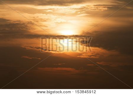 Beautiful sunset on the sky and cloud background