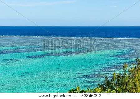 Panoramic view of the reef from the viewpoint on Mana Island Fji
