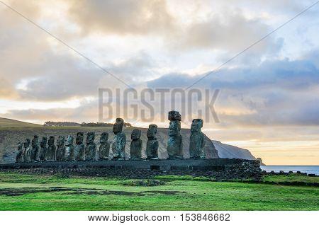 HDR Photo of the sunrise at the Ahu Tongariki moai site on the coast of Easter Island Chile