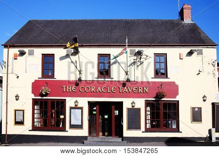 Carmarthen, Wales, UK, October 22, 2016 : The Coracle Tavern public house and restaurant situated in Cambrian Place