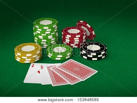 Gambling casino chips and playing cards 3d on green velvet pool. Chips and card back side design are my own.