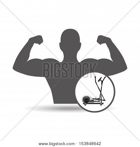 fitness silhouette elliptical machine gym graphic vector illustration eps10