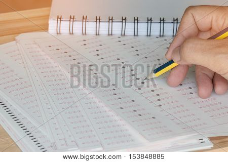 Thai student testing in exercise exams answer sheets