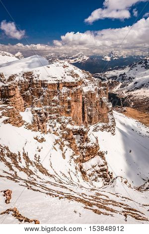 Breathtaking View From The Top Of Sass Pordoi, Dolomites, Italy