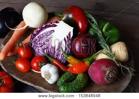 a pile of different fresh autumn vegetables