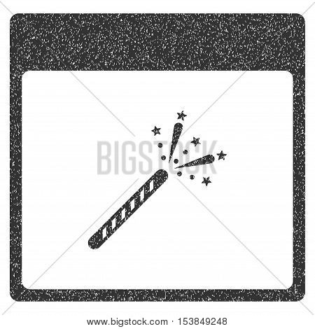 Sparkler Firecracker Calendar Page grainy textured icon for overlay watermark stamps. Flat symbol with dirty texture. Dotted vector gray ink rubber seal stamp with grunge design on a white background.
