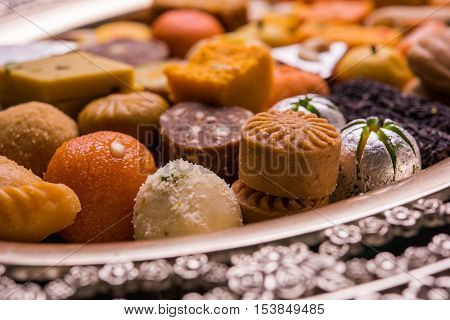 Mix Mithai or indian milk made sweets, favourite diwali, holi, dussehra, indian or pakistani wedding sweet food