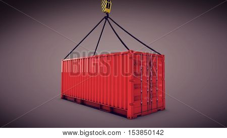 Red Cargo Container With A Hook