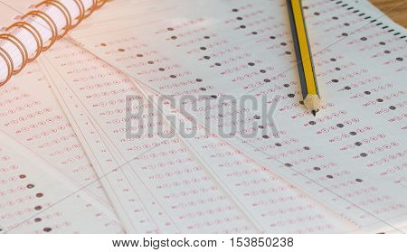 answer sheet test score sheet for exam with answers in education