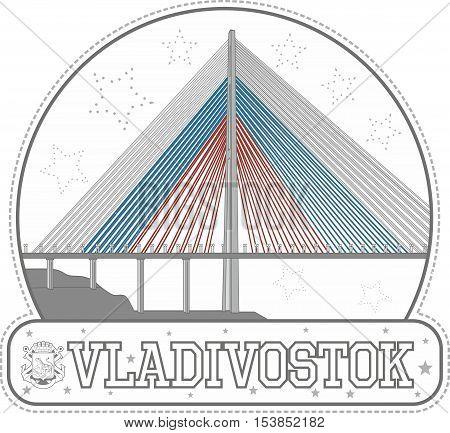 Sticker With Russkiy Bridge In Vladivostok, Russia