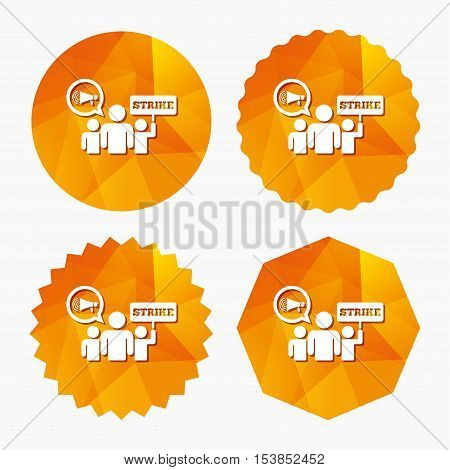 Strike sign icon. Group of people symbol. Industrial action. Holding protest banner and megaphone. Triangular low poly buttons with flat icon. Vector