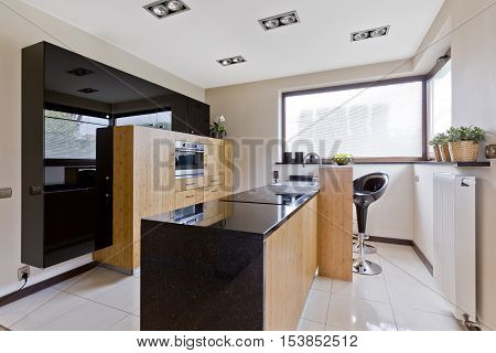 Light Kitchen With Dark Details