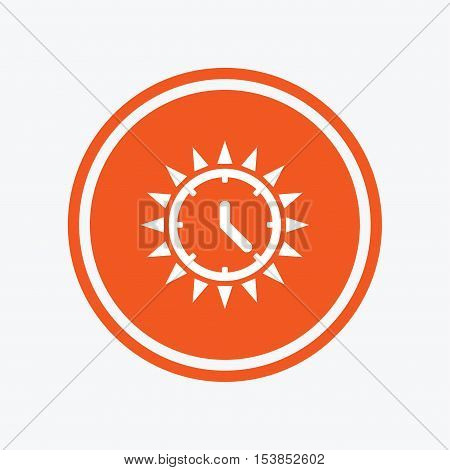 Summer time icon. Sunny day sign. Daylight saving time symbol. Graphic design element. Flat summer time symbol on the round button. Vector