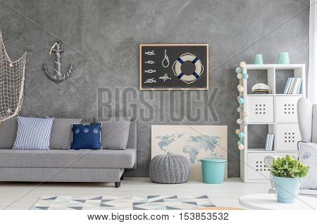 Home Interior With Marine Decor
