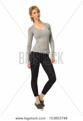 Blonde Woman Wearing The Sport Clothes For Fitness Isolated