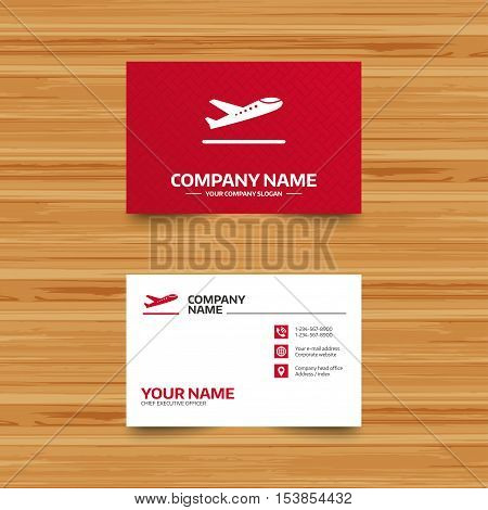 Business card template. Plane takeoff icon. Airplane transport symbol. Phone, globe and pointer icons. Visiting card design. Vector