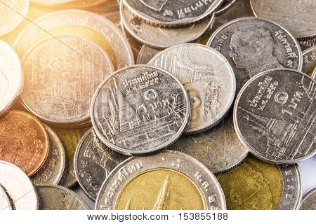 Thai baht, money, Thai coin.Money thai coins ( bath) staircase sorted. King of Thailand. The concept of financial planning, savings, Busines successful, Busines progress.