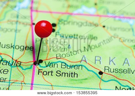Fort Smith pinned on a map of Arkansas, USA