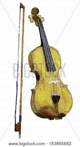 watercolor sketch of violin on white background