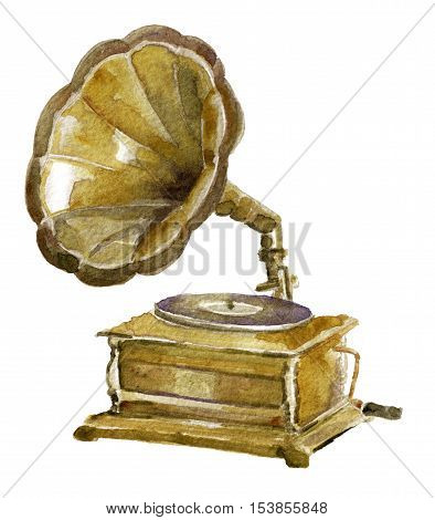 watercolor sketch of antique phonograph on white background