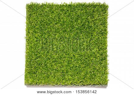 Artificial green grass plate on white background