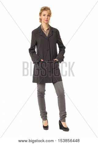 Woman Wearing Black Overcoat Isolated On White Background