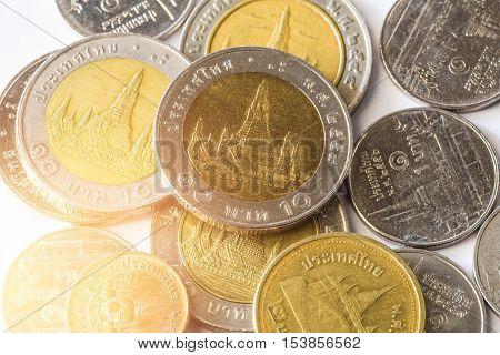 Thai Baht, Money, Thai Coin.money Thai Coins ( Bath) Staircase Sorted. King Of Thailand. The Concept