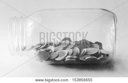 Thai Baht,bottle Of Coins, Money, Thai Coin.money Thai Coins ( Bath) Staircase Sorted. King Of Thail