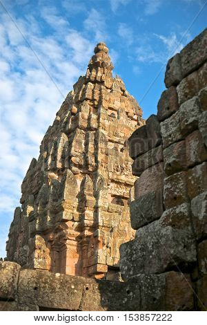 Phanom Rung Stone Castle Wall in buriram,Thailand
