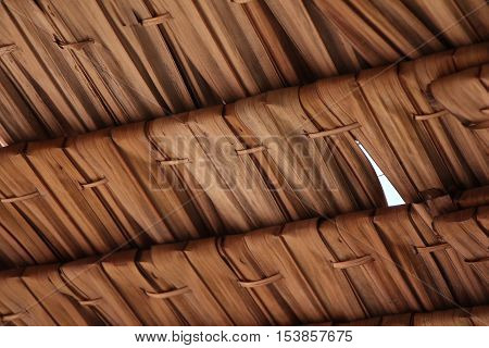 Straw pattern Thatched Roof close up view
