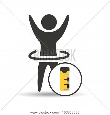 man hand up silhouette measure tape icon design vector illustration eps 10