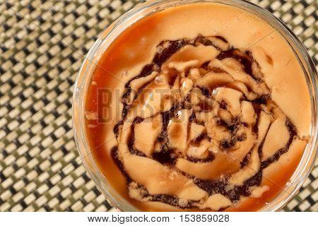 Delicious Papaya cream with Cassis Liquor. Dessert