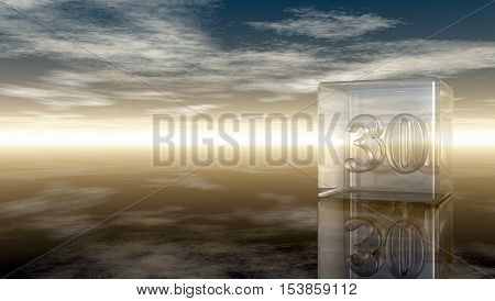 number thirty in glass cube under cloudy sky - 3d rendering