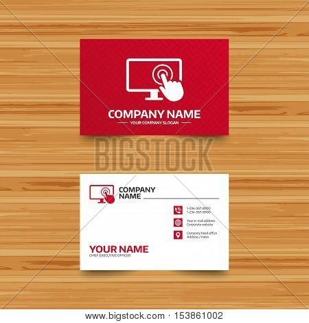 Business card template. Touch screen monitor sign icon. Hand pointer symbol. Phone, globe and pointer icons. Visiting card design. Vector