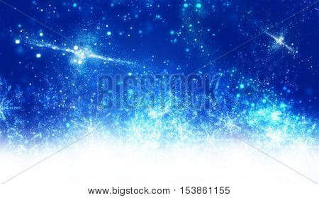 Blue winter background with snowflakes  on white background