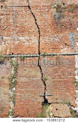Deep crack in a brick wall - concept image