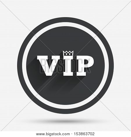 Vip sign icon. Membership symbol. Very important person. Circle flat button with shadow and border. Vector
