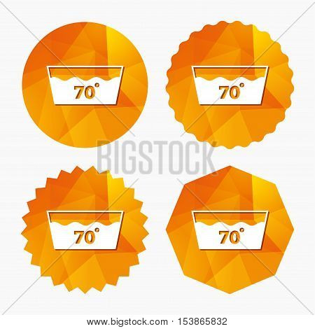 Wash icon. Machine washable at 70 degrees symbol. Triangular low poly buttons with flat icon. Vector