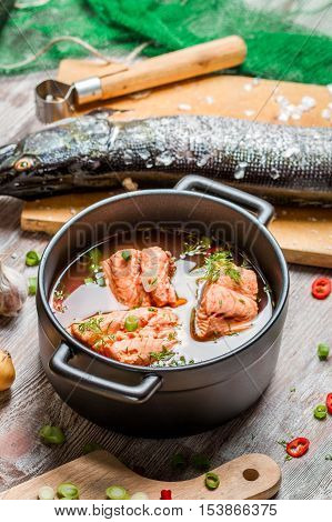 Fish Soup Made ​​of Fresh Vegetables And Salmon