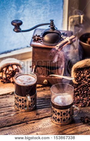 Freshly Brewed Coffee In The Old Style
