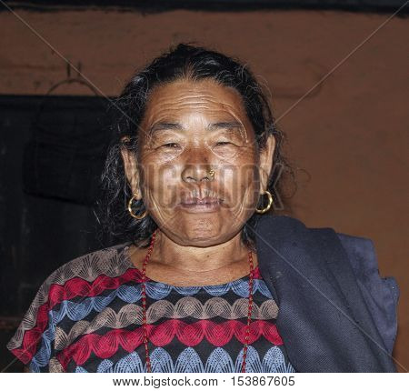 Portrait Of Old Nepalese Woman