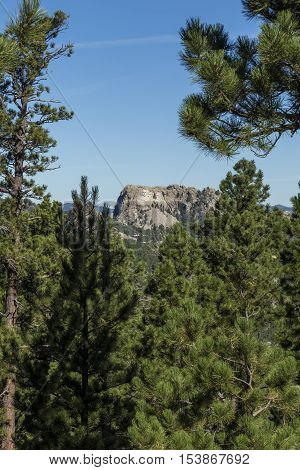 A view of Mount Rushmore from a scenic overlook.